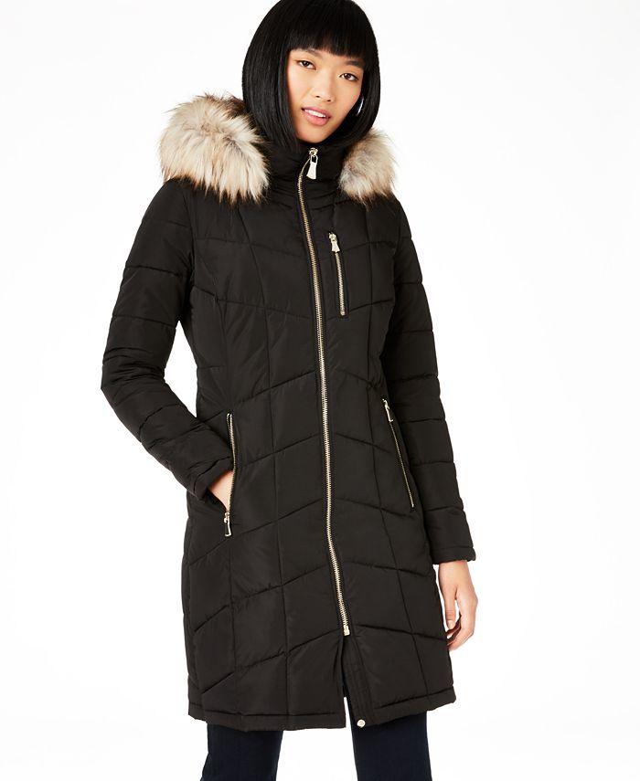 Calvin Klein - Hooded Faux-Fur-Trim Puffer Coat