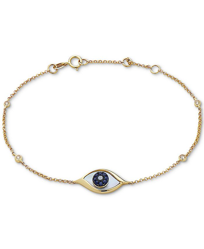 EFFY Collection - Mother-of-Pearl, Sapphire (1/10 ct. t.w.) & Black Diamond Accent Link Bracelet in 14k Gold