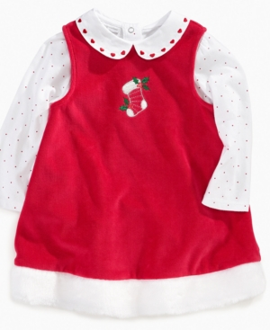 First Impressions Baby Set, Baby Girls 2 Piece Christmas Jumper Dress