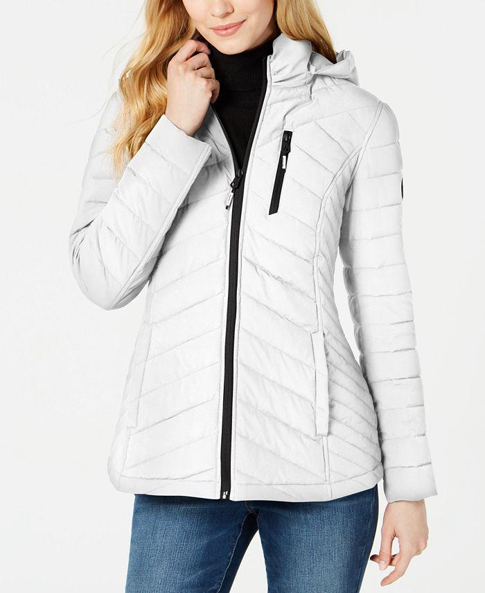 Nautica - Hooded Contrast-Trim Packable Puffer Coat
