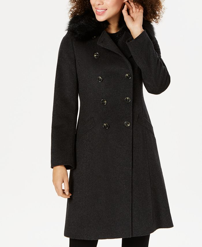 Tahari - Double-Breasted Faux-Fur-Collar Coat