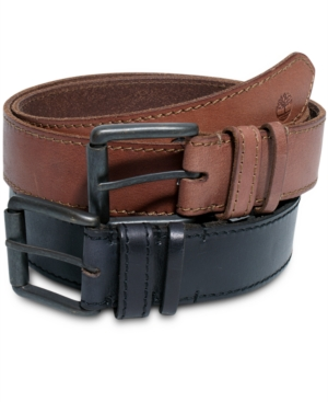 Timberland Belts Hand Stained Leather with Edge Stitching Belt