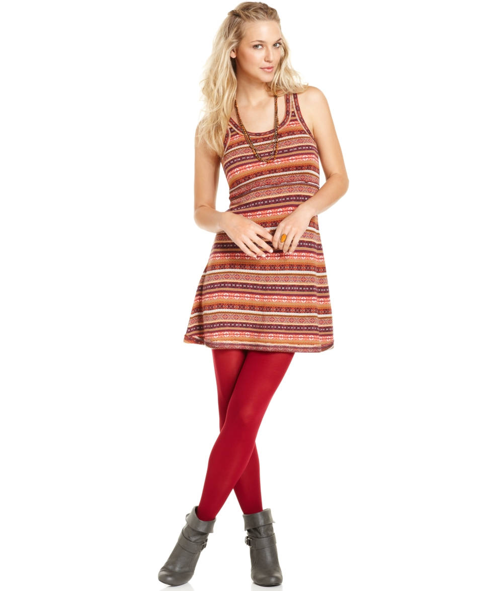 Free People Dress, Sleeveless Scoop Neck Fair Isle Wool Blend