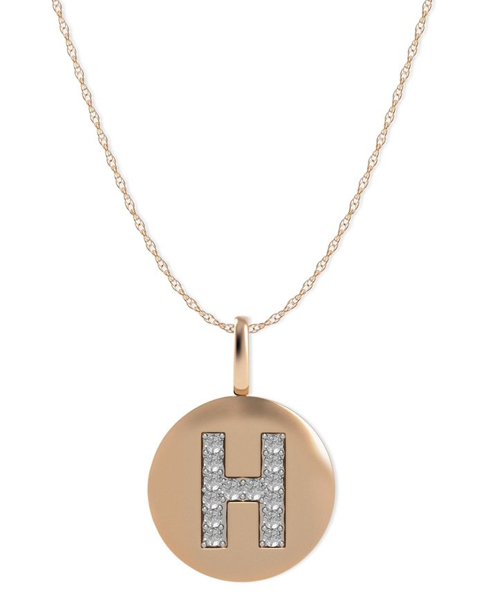 Macy's - 14k Rose Gold Necklace, Diamond Accent Letter H Disk Pendant