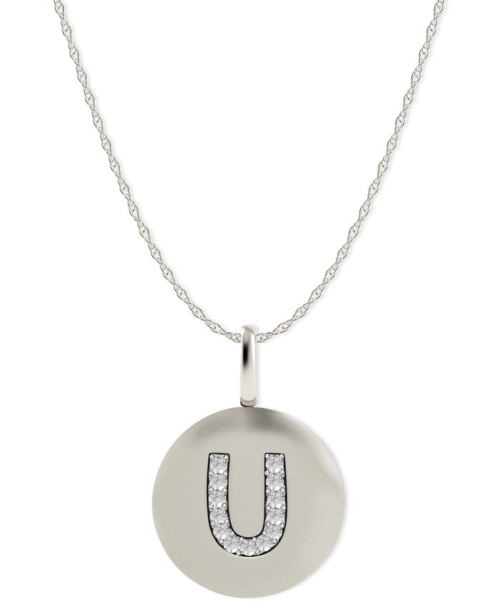 Macy's - 14k White Gold Necklace, Diamond Accent Letter U Disk Pendant