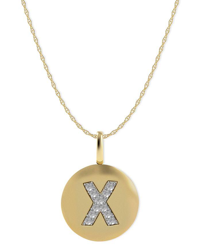 Macy's - 14k Gold Necklace, Diamond Accent Letter X Disk Pendant