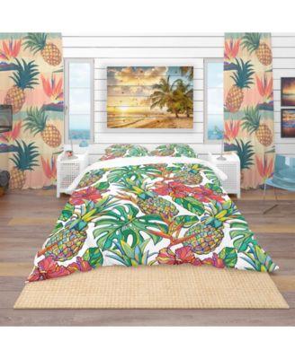 Designart 'Colorful Tropical Pattern' Tropical Duvet Cover Set - Queen