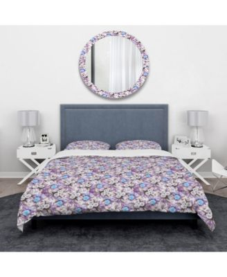 Designart 'Cascade Bouquet Royal Blue Purple and White Flowers' Traditional Duvet Cover Set - Twin