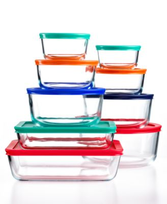 Pyrex 18 Piece Simply Store Set with Colored Lids