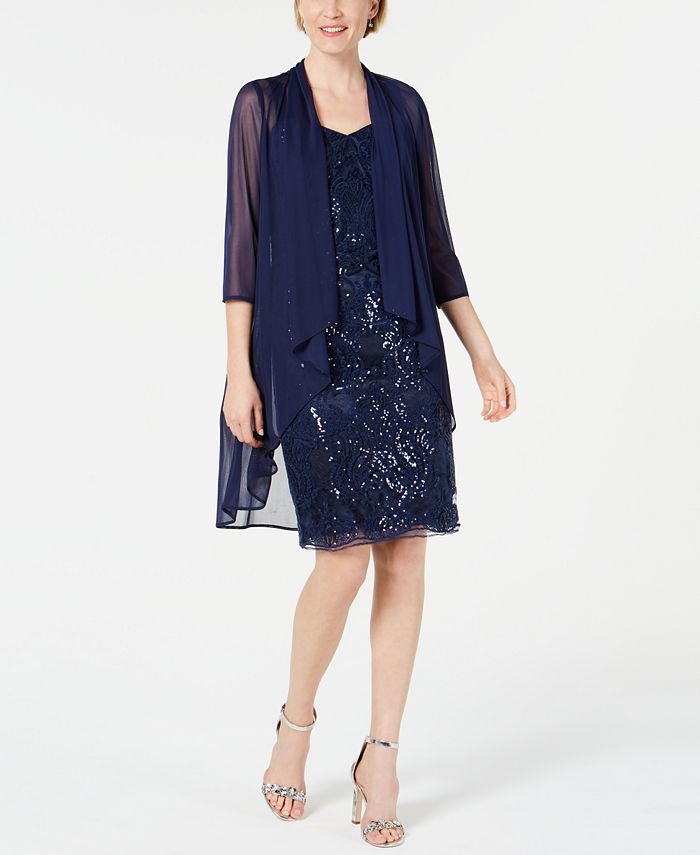 R & M Richards - Sequin Embroidered Dress & Duster Jacket