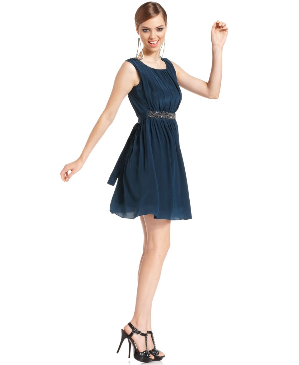 MM Couture Dress, Sleeveless Scoop Neck Ruched Beaded A Line