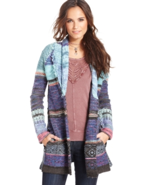 Free People Sweater, Long-Sleeve Mixed Knit Cardigan