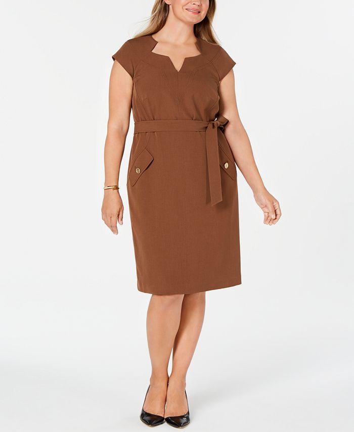 Kasper - Plus Size Belted Dress