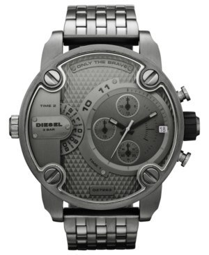 Diesel Watch, Men's Gunmetal Ion-Plated Stainless Steel Bracelet 51mm DZ7263