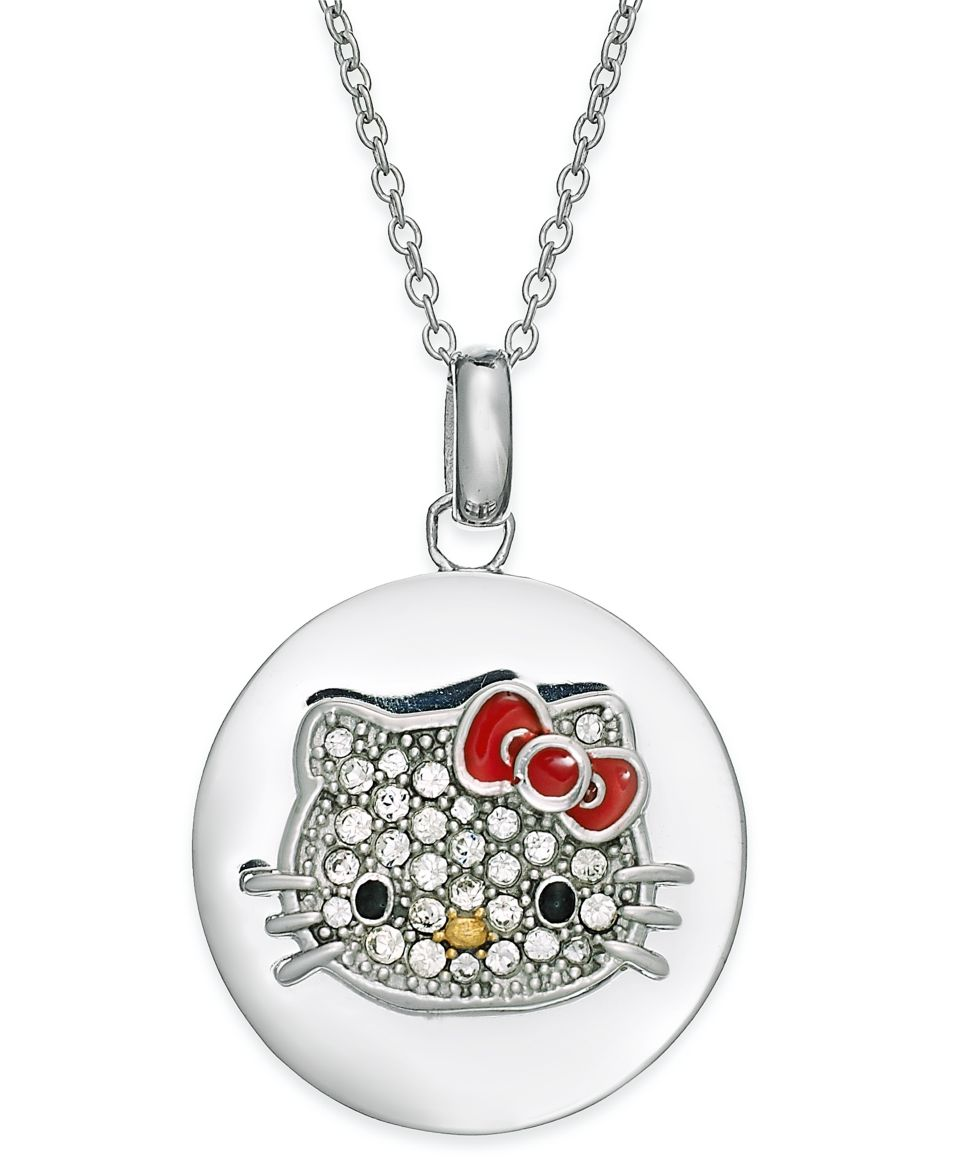 Hello Kitty Sterling Silver Necklace, Pave Crystal Face Disc Pendant   Necklaces   Jewelry & Watches