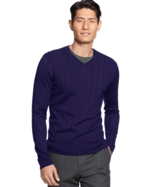 Alfani RED Sweater, Merino Wool Blend Wishbone Rib V-Neck Slim Fit Sweater
