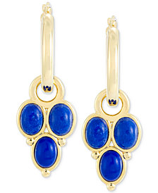 Signature Gold Lapis Lazuli Drop Earrings in 14k Gold Over Resin, Created for Macy's