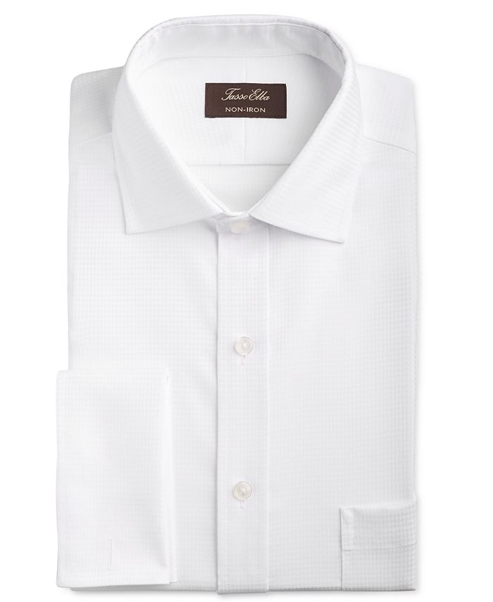 Tasso Elba - Men's Classic/Regular Fit Non-Iron Stretch Tonal Diamond French Cuff Dress Shirt