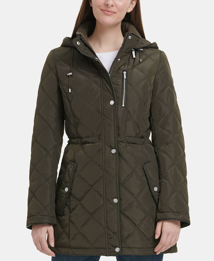 DKNY - Quilted Faux-Leather-Trim Anorak Jacket