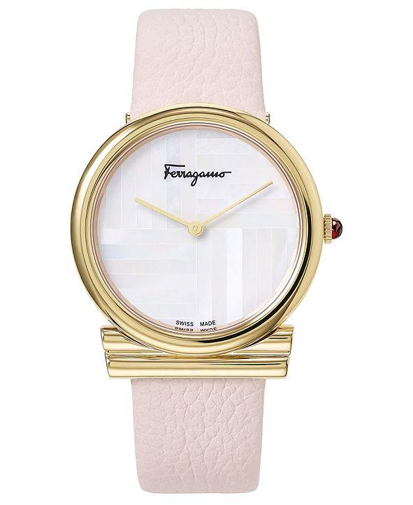 Ferragamo Women's Swiss Gancino Pink Leather Strap Watch 34mm