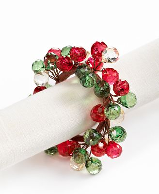 Excell Napkin Rings Set Of 4 Beaded Cluster Christmas