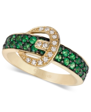 Le Vian 14k Gold Ring, Tsavorite (5/8 ct. t.w.) and Diamond Accent Buckle Ring