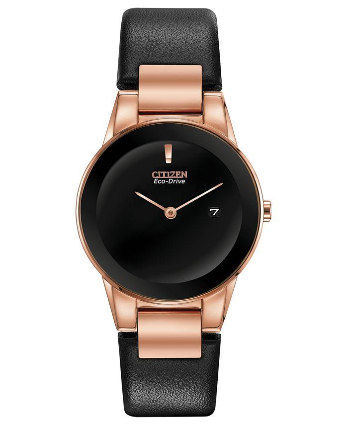 Citizen - Women's Axiom Black Leather Strap Watch 30mm
