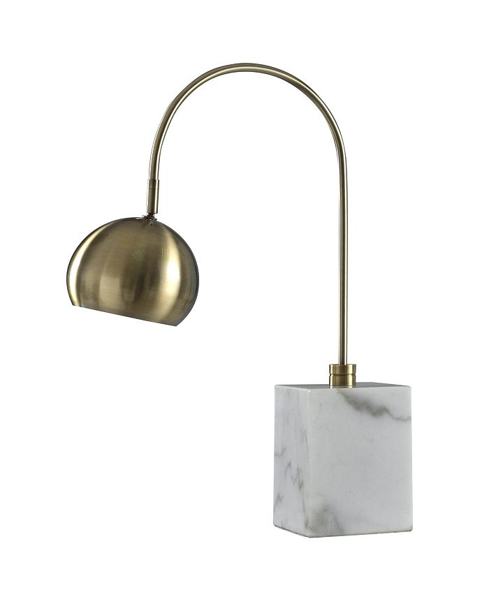 Harp & Finial - Woolsey Table Lamp Antique Brass Body with Marble Base Metal Shade