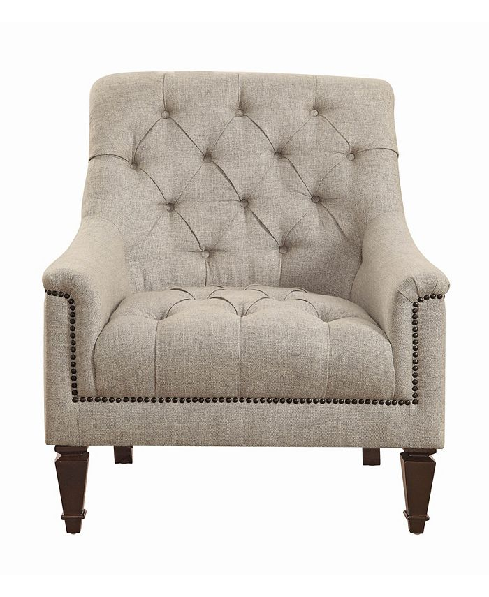 Macy's - Avonlea Upholstered Chair with Heavy Tufting Beige