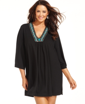 Dotti Plus Size Cover Up, Three-Quarter-Sleeve Beaded Tunic Women's Swimsuit