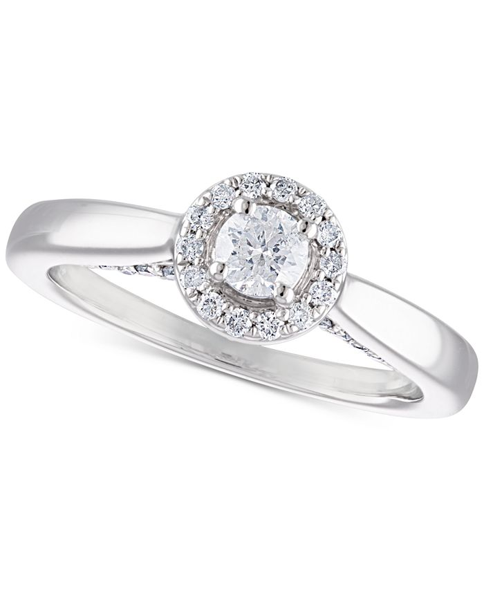 Macy's - Certified Diamond Halo Engagement Ring (1/2 ct. t.w.) in 14k White Gold