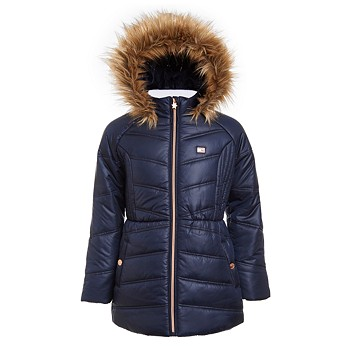 Tommy Hilfiger Big Girls Puffer Jacket With Faux Fur Hood