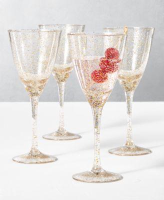 Holiday Sayings Glitter Drinkware, Set of 4