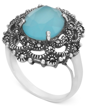 Genevieve & Grace Sterling Silver Ring, Synthetic Apatite (2-1/5 ct. t.w.) and Marcasite Floral Ring