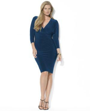 Lauren Ralph Lauren Plus Three-Quarter-Sleeve Ruched Jersey Dress