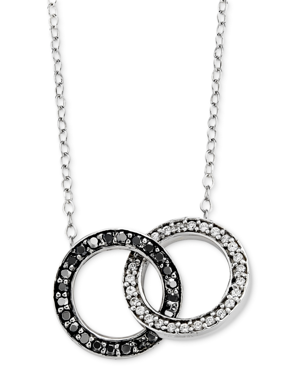 Sterling Silver Necklace, Black and Whte Diamond Circle Link Necklace (1/4 ct. t.w.)   Necklaces   Jewelry & Watches
