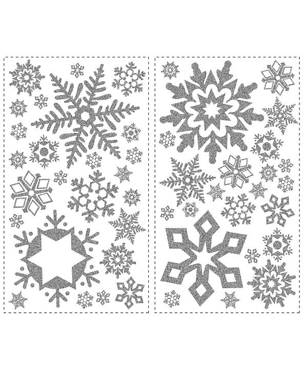 York Wallcoverings Glitter Snowflakes Peel and Stick Wall Decals