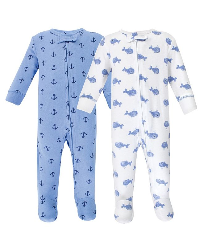 Hudson Baby Zipper Sleep N Play, Blue Whales, 2 Pack, 6-9 Months