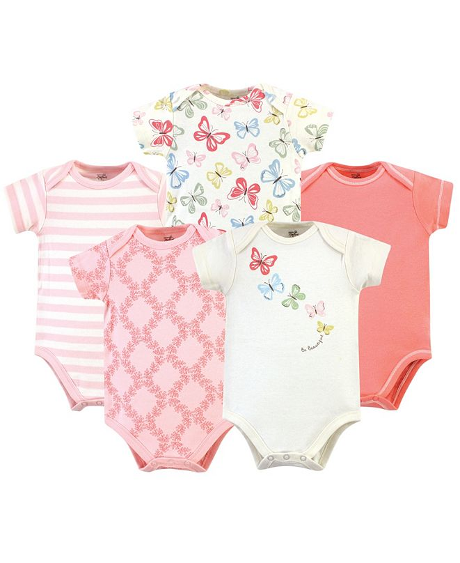 Touched by Nature Organic Cotton Bodysuit, 5 Pack, Butterflies, 0-3 Months