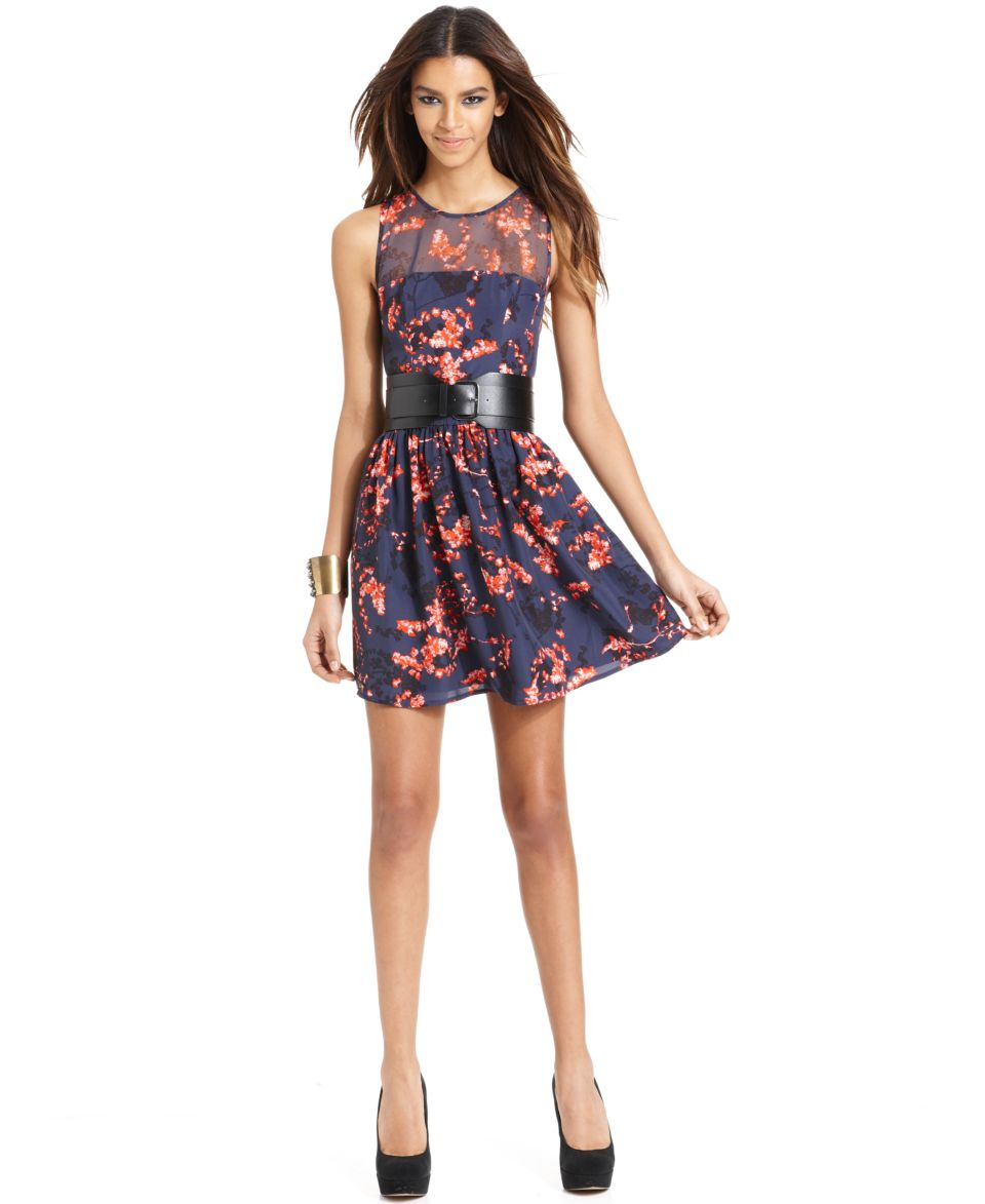 GUESS Dress, Sleeveless High Neck Floral Printed Belted A Line   Dresses   Women