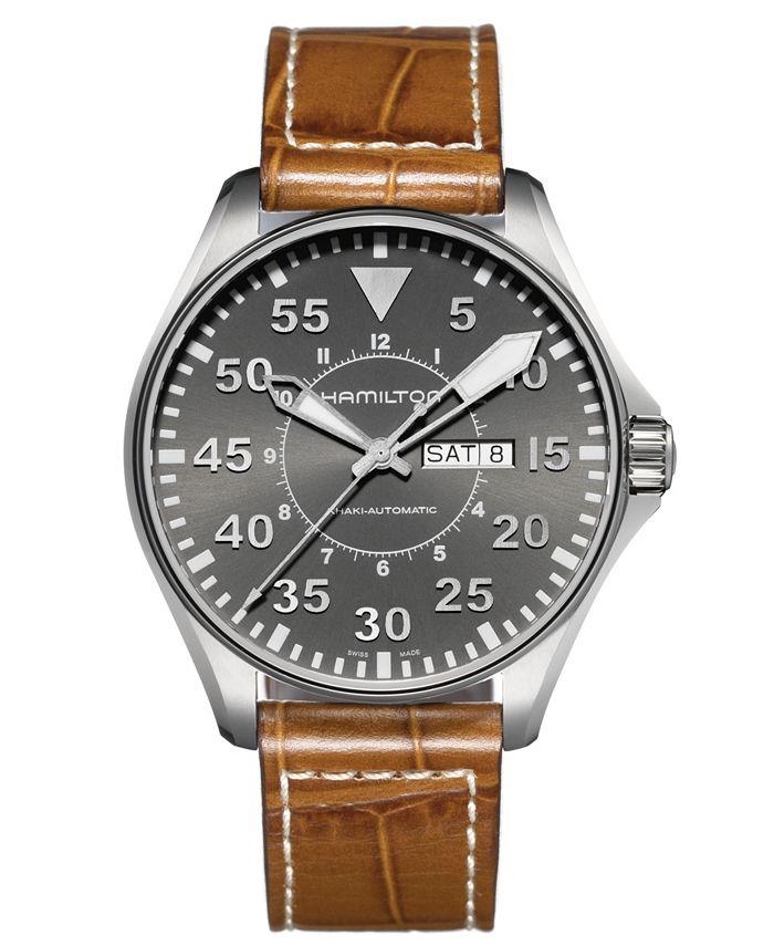 Hamilton - Watch, Men's Swiss Automatic Khaki Pilot Brown Leather Strap 46mm H64715885