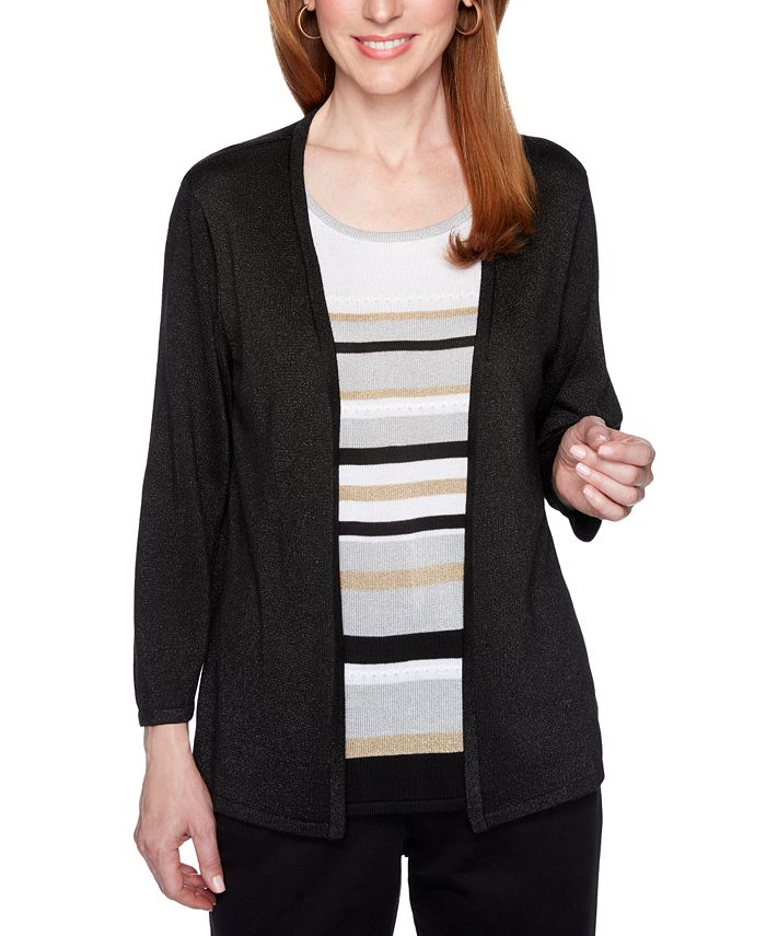 Alfred Dunner - Classics Striped Metallic Layered-Look Sweater