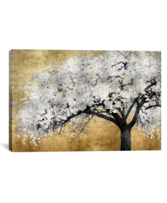 """Silver Blossoms by Kate Bennett Wrapped Canvas Print - 18"""" x 26"""""""