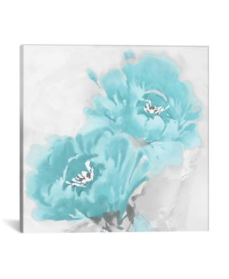 "Flower Bloom In Aqua I by Jesse Stevens Wrapped Canvas Print - 18"" x 18"""