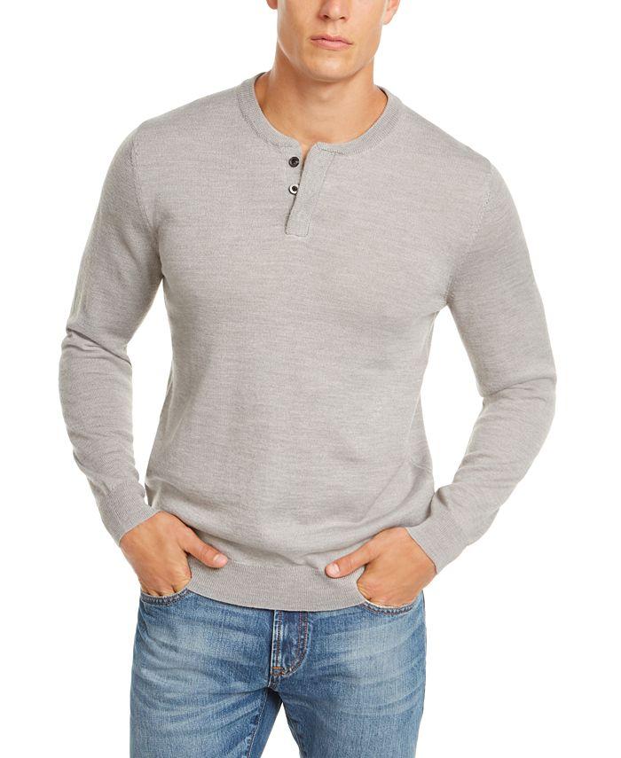 Club Room - Men's Regular-Fit Henley Sweater