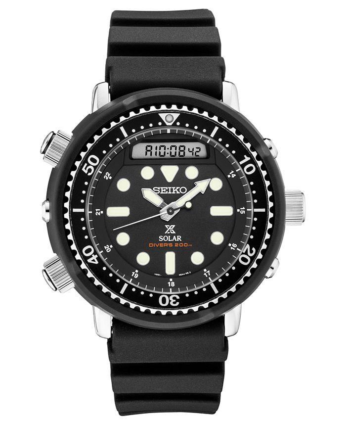 Seiko - Men's Solar Analog-Digital Prospex Divers Black Silicone Strap Watch 47.8mm