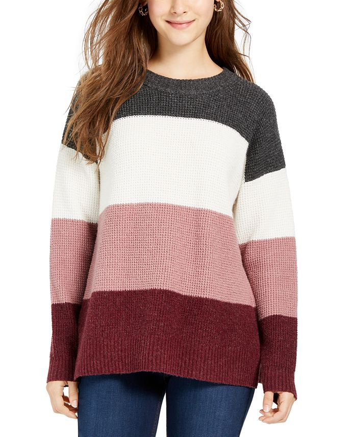 Hippie Rose - Juniors' Colorblocked Thermal-Knit Sweater