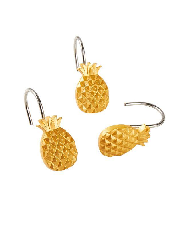 Saturday Knight Ltd Gilded Pineapple Shower Curtain Hooks
