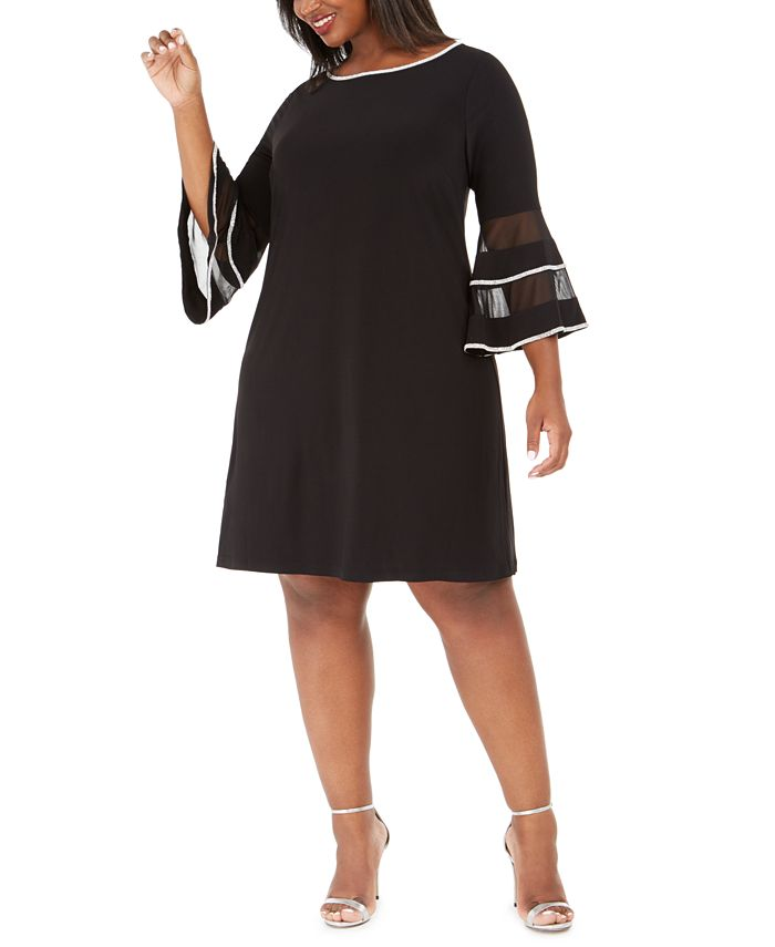 MSK - Plus Size Illusion Bell-Sleeve Dress