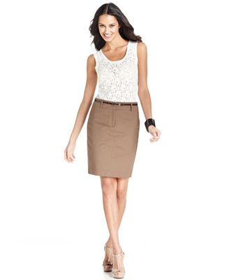 tracy sleeveless tank top belted pencil skirt
